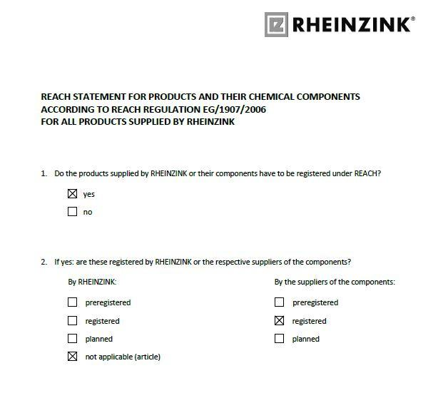 REACH - statement for products and their chemical components